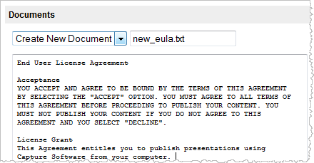 Adding EULA to advanced settings – End User License Agreement Template